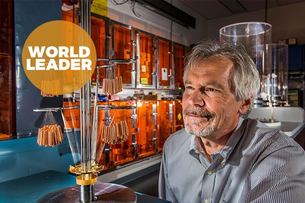 man in laboratory with text 'world leader'